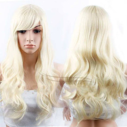 Wholesale Cheap White Long Wig - Synthetic Long Blond Wavy Natural Hair For Women Sale Wig Synthetic Wigs Cheap Wigs for White Women