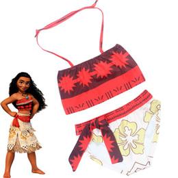 Wholesale Costumes Sets For Girls - Cospaly Moana Princess Summer Bikinis Swimwerar for Girls Casual Kids Children Halter Bikini Sets Beachwear ZL3423