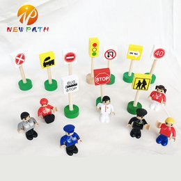 Wholesale Traffic Light Wholesale - Customizable Wooden Traffic Road Sign Rail Train Station Tree Accessories Traffic Lights Sign Learning Supplies Children Toys Kids Baby Game