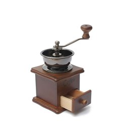 Wholesale Coffee Maker Bean - Classical Wooden Mini Coffee Grinder Manual Stainless Steel Retro Coffee Spice Mill With High-quality Porcelain Movement