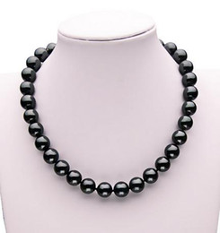 Wholesale South Sea Shell Pearls Wholesale - AAA 12mm south sea black Shell pearl necklace 17 inch 925 silver clasp