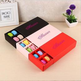 Cajas de regalo para galletas online-Eco-Friendly Macaron caja contiene 12 Cavidad 20 * 11 * 5cm regalos de envasado de alimentos de papel para fiestas Cajas magdalena de la panadería Snack-caramelo galleta mollete Box