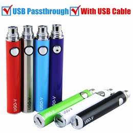 Wholesale E Cig Battery Pass - Wholesale EGO EVOD UGO BATTERY usb pass through battery bottom charge with usb cable vaporizer pen 510 e cig batteries