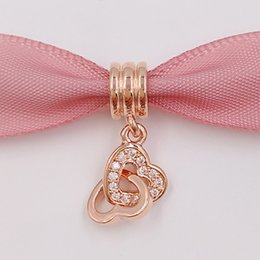 Wholesale Pandora Heart Dangle Charms - Valentines Day 925 Silver Beads Heart Rose Dangle Fits European Pandora Style Jewelry Bracelets & Necklace 781242CZ Rose Gold Plated