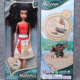 Wholesale Romance Box - 33CM Moana Princess Barbie Doll For Girls Action Figure With High Class Plastic Retail Box Package Lovely Cute Baby Doll Ocean Romance 13''