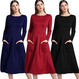 Wholesale long sleeved maxi dresses - Autumn and winter plus size dresses women clothing long-sleeved zipper pocket maxi dress large pendulum casual dresses for women