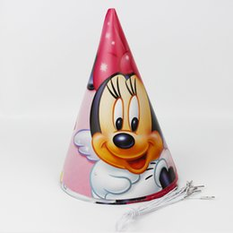 Wholesale Events Party Supplies - Wholesale-12pcs Happy Birthday Party Decoration Cute Child Minnie Mouse Cartoon Pattern Birthday Paper Hat Event Kids Party Supplies