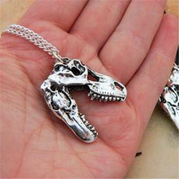 Wholesale T Rex Wholesale - 12pcs lot T Rex Necklace Tyrannosaurus Rex Necklace Dinosaur Jewellery Gift in silver