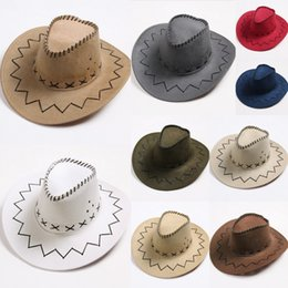 Wholesale Boys Western Hat - Western Cowboy Hats Kids Men Brim Caps Retro Sun Visor Knight Hat Cowgirl Brim Hats Kids Mongolia Prairie Summer Outdoor Tourism Headwear