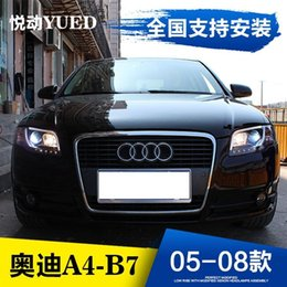 Wholesale Audi Led Headlamp - FOR Xiushan Audi A4 B7 headlight assembly 05-08 dual lens light guide light LED with modified xenon headlamps