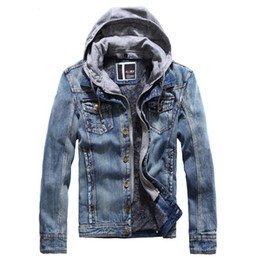 Wholesale Asian Coats - Wholesale- 2017 New Retro Denim jackets Mens Jeans Coats Cashmere Winter Jackets Brand Hooded Denim Coat Men Outwear Male Asian Size,SEA0
