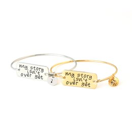 Wholesale Wholesale Stamped Charms - Motivational Pendant Bracelet My story isn't over yet Charm Bracelet Bangle Inspirational Friendship Hand Stamped Jewelry