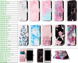Wholesale Wholesale Flower Clip Cards - Leather Wallet Case For Iphone X Galaxy Note8 Note 8 Marble Stone Flower Dreamcatcher Butterfly ID Card Slot Flip Cover Stand Stylish Floral
