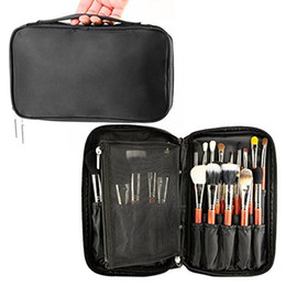 Wholesale Makeup Brushes Belt - Professional Cosmetic Case Makeup Brush Organizer Makeup Artist Case with Belt Strap Holder Multi functional Cosmetic Bag Makeup Handbag