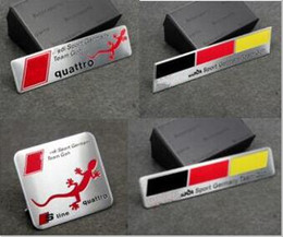 Wholesale Quattro Cars - High Quality Aluminum alloy Sticker Car Sport Sticker Label Emblem Badge car styling Sline Quattro fit for Audi [60x55mm,100x26mm more size]