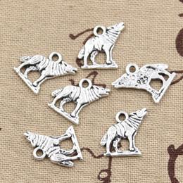 Atacado-99Cents 12pcs encantos lobo uivando 15 * 15 milímetros Antique fazendo pingente em forma, prata tibetana do vintage, DIY pulseira colar de