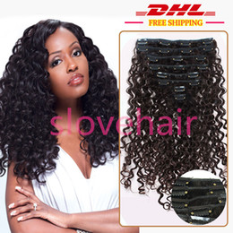 Wholesale European Clip Curly Hair - Free Shipping 7A Clip in Human Hair Brazilian European Virgin Hair Clip in Extensions Deep Curly Clip in Hair Extensions