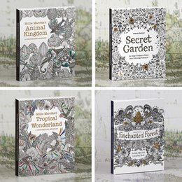 Wholesale Postcard Books - 4 styles kids adult drawing coloring books 30 Postcard decompression Graffiti Painting Mystery Garden Animal kingdom Relieve Stress