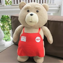 Wholesale large size teddy bear - 2016 New Teddy Bear Ted 2 Plush Toys In Apron bowknot Large Size Big Huge 48CM Soft Stuffed Animals Ted Bear Plush Dolls
