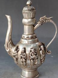"Wholesale Antique Chinese Tea - Modern Art Sculpture Figurine Tibet Silve 9"" Chinese Silver Eight Immortals 8 God Dragon Head Handle Wine Tea Pot Flagon"