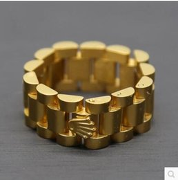 Wholesale Mens Stainless Rings - 24K gold plated Mens ring 10mm Luxury Link Band Ring Stainless Steel Gold Tone Hiphop Watchband Style President Crown Ring Size 8 10 12