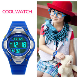 Wholesale Watches Led Kids - Skmei Children Sports Watches Cute LED Digital Sport Watch Cartoon Alarm Stopwatch Waterproof Wristwatch For Boy Kids Girls 1077
