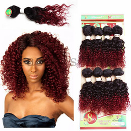 Wholesale Brazilian Deep Curl Hair Extensions - 8pcs ombre burgundy brazilian hair extensions afro kinky curly deep wave brazilian hair weave bundles jerry curl afro kinky hair