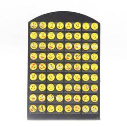 Wholesale 8mm cartoons - YEYULIN Round Yellow Resin Cartoon Face Emoji Stud Earrings Women Girl 36 pairs Jewelry 8MM