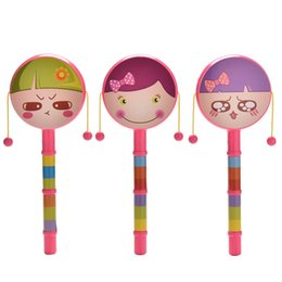 Wholesale Musical Prints - Wholesale- 1pc Baby Kid Musical Instrument Toy Plastic Cartoon Print Shaking Rattle Drum Toys
