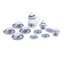 Wholesale Dollhouse 12 - 15pcs British Style 1 12 Dollhouse Miniature Dining Dinnerware Porcelain Tea Set Tea Cup Plate Blue Hot Sale