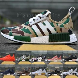 Wholesale Womens White Leather Sneakers - Free shpiping Cheap new runner Mens & Womens NMD R1 PK running shoes sneakers in Black,White,olive green,Camo,Pink in top quality Eur 36-45