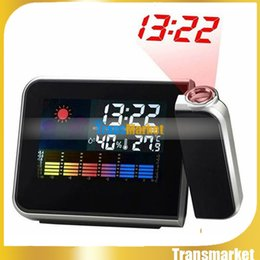 Wholesale Multi Function Table - New Brand Square Digital Projection Clock Weather Multi Function Alarm Color Screen Calendar Home Decor Desk Table Clock PTCT