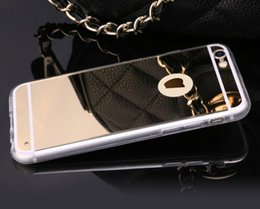 Wholesale Cell Phone Mirror Cover - New iPhone 8 Luxury back frame TPU Mirror mobile cell phone case cover for iphone 5 6 7 plus for Samsung galaxy S5 S6 S7 S8 Edge