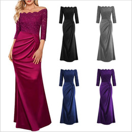 Wholesale Wholesales Dresses Prom Night - Dresses Women's Party Prom Gown Dress Formal Lace Bridesmaid Dress Wedding Dinner Dress Evening Elegant Dresses A Line Maxi Dresses B2765