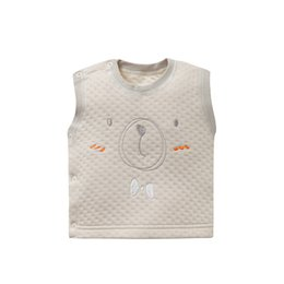 Wholesale Plant Dye - 0-3T Baby Cotton Vest Color Dyeing of Plants Side Opening Printed Elastic Proper Round Collar Tops