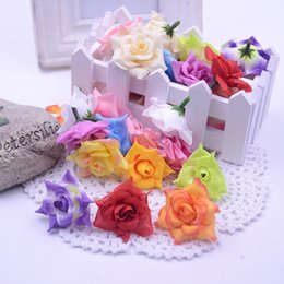 Wholesale Cheap Fake Roses - Wholesale-Cheap 50pcs Silk Artificial Blooming Rose Flower Head For Wedding Home Decoration DIY Scrapbooking Accessories Rosa Fake Flowers