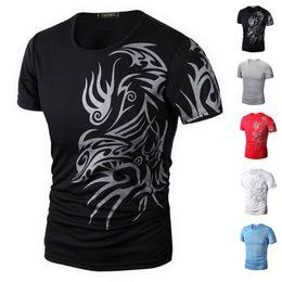 Wholesale Good Quality Black T Shirts - Wholesale t shirts for men Fashion Dragon Print t shirt Short Sleeve crew neck sport t-shirt Elastic clothing Good Quality tshirt TX70 RF
