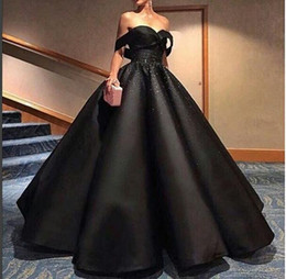 Wholesale Taffeta Empire Ball Gown - 2017 Elegant Unique Prom Dress Evening Dress Ball Gown Black Sweetheart Beaded Long Cheap Evening Dresses Prom Dresses