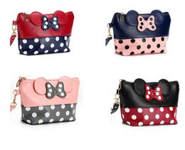 Wholesale Butterfly Makeup - Newly women cosmetics bag organizer PU print dot lovely butterfly makeup brush storage pouch bag cartoon hand bag