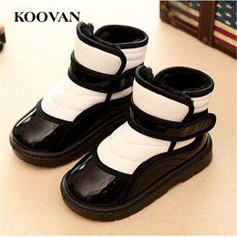 Wholesale Boys Kids Boots Size 12 - Snow Boots Cotton Shoes Plush Winter Warm Boot 2017 Kids High Quality Koovan Boy Girl Shoe Large Size 21-35 Hook Loop K505