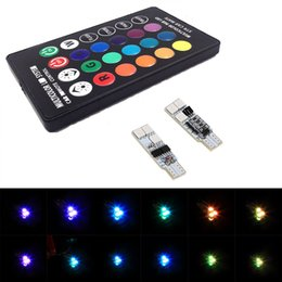 Wholesale Colorful Luggage - 1 Pair T10 RGB Multi Colors Changing LED Lamp Bulb Colorful Auto Car Interior Light with Remote Control