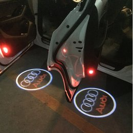 Wholesale Q5 Audi - 2pcs LED Projector Laser Car Door Welcome Emblem Light Shadow Logo Led Lamp Ghost For Audi A3 A4 A6 A8 A6L R8 Q5 Q7 TT A5 A7 A4L A6L A1 Q3