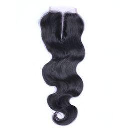 верхние крышки для наращивания волос Скидка Бразильская объемная волна средняя часть кружева топ закрытие класса 6A волос 4*4 отбеленные узлы топ закрытие Dyeable человеческих волос расширения