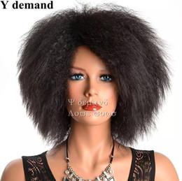 Wholesale Men Black Short Hair Wigs - Men Women Newest Afro Black Hair Afro Short Straight Wig Fashion Siulation Brazilian Human Hair Wigs Full Wigs In stock Y demand
