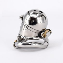 Wholesale Stainless Steel Restraints Locks - Male Chastity Cage Stainless Steel Chastity Belt Penis Restraint with 4 Arc Base Activities Lock Ring Penis Cap Cover Adult Toys For Men