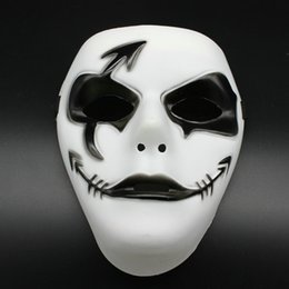 Wholesale Ghost Painting - Wholesale- Hand-painted Prom Mask Hip-hop Halloween Mask Hand-painted Plastic Mask Ghost Step Dance Unisex Adjustable Straps