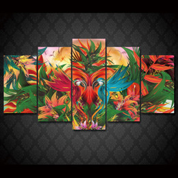 Wholesale wall art oil painting set - 5 Pcs Set Framed HD Printed Jungle Birds Abstract Wall Art Canvas Print Poster Canvas Pictures Modern Painting
