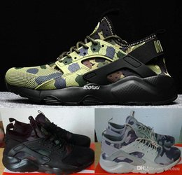 Wholesale White Camo Hunting - New Huarache 4 IV kpu Breathe Running Shoes For Men Women,Woman Mens Camo Army Air Huaraches 4 Multicolor Sneakers Athletic Trainers Shoes