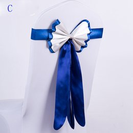 Wholesale Pleated Wedding Chair Covers - Wedding supplies Chair back yarn bow double layers Free seat belt Elastic chair cover Pleated ribbon ribbon