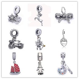 Wholesale Bike Charms - 925 Sterling Silver Bowknot Bike Cupid Love Charm Beads Fit for European Pandora Style charm Bracelet